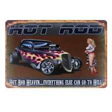 Metal Tin Sign hot rod heaven  Decor Bar Pub Home Vintage Retro Poster