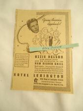 Ozzie Nelson / Shirley Lloyd concert Hotel Lexington NY 1936 newsprint ad