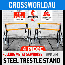 2x Heavy Duty Metal Saw Horse Foldable Steel Trestle Stand Carpentry Work Bench