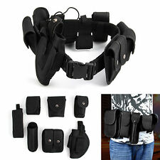 Tactical Police Guard Equipment Belt With 9 Pouches Utility Security System UK
