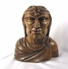 Indian Art Wood Sculpture Carving Chief Head carved bust  vintage