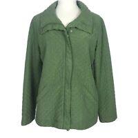 Eileen Fisher Quilted Jacket Medium Green Silk Zip Snap Front
