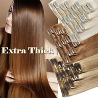 """10""""-24"""" 200g Clip In Thick Double Weft Remy Real Human Hair Extensions Full Head"""