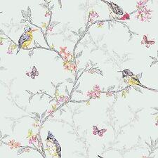 Holden Decor Designer Shabby Chic Songbirds Phoebe Soft Teal  Wallpaper -  98083