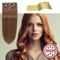 clip in ponytail Human Hair Extension 18 clip 8 piece Advanced Elegant US HOT