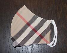 Maske beige schwarz weiß kariert Nova Check Tartan NEU Mund Nase Designer Unikat