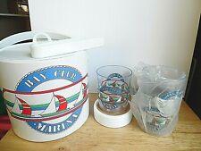 New Bay Club Marina 10 Piece Ice Bucket Set Nautical w/Cups Coasters Ice Tongs