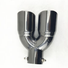 "Black Glazed Stainless Steel Dual Car Muffler Tip 2.5"" Angled Exhaust Tail Pipe"