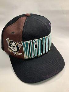 Vintage SnapBack Hat Anaheim Mighty Ducks NHL Starter Spellout Tri Power *ink
