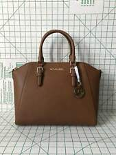 NWT Michael Kors Ciara Large Top Zip Saffiano Leather Satchel Bag Luggage Brown