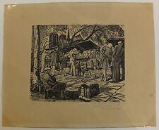 Jean Chièze gravure sur bois woodcut  Paris Notre-Dame bouquinistes XXème