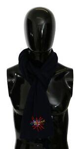 DOLCE & GABBANA Scarf Wool Blue #DGLovesLondon Wrap Shawl 180cm x 27cm