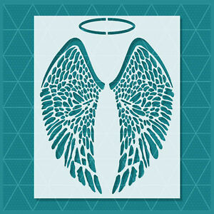 Angel Wings Stencil - 14x11 - 11x8.5 - 7x5.5 - Durable & Reusable