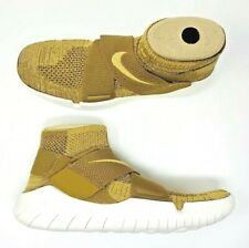 Nike Free RN Motion Flyknit Gold White Cross Fit Running Shoes 942840-201 SZ 9.5
