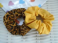 Pack Of 2 Leopard Print & Mustard Scrunchies Scrunchy Hair Accessory Summer Tie