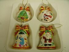 Set of 4 Ceramic Christmas Ornaments Bells Balls by World Bazaar