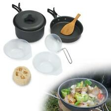 8pcs Outdoor Camping Hiking Cookware Backpacking Cooking Picnic Bowl Pot Pan #M