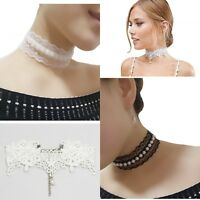 Fashion Women Gothic Lace+Pearl Flower Choker Collar Necklace Retro Punk Jewelry