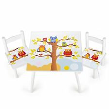 hiboux en bois table et 2 chaises robuste enfants meubles NEUF