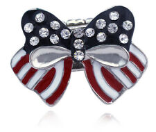 4th of July USA American Flag Bow Ribbon Stretch Resizable Band Cocktail Ring