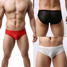 Sexy Men's Transparent Lace Sheer Boxers Briefs Low Rise Trunks Underwear Shorts