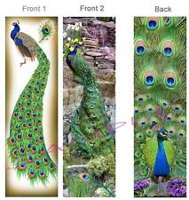 2 lot-PEACOCKS BOOKMARKS Peafowl PEACOCK Tail Feather BIRD ART Book Mark Card