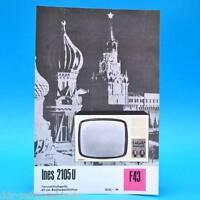 Fernsehtischgerät Ines 2105 U DDR 1970 47-Bildröhre Prospekt Werbung DEWAG F43 C