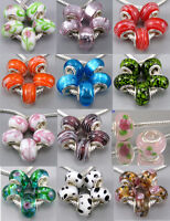 5Pcs HANDMADE Silver Core Murano Glass Beads Fit European Charms Bracelet Gift