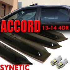 13&14 Smoke Window Vent Visors Honda Accord Sedan 4D+White T10/194/921 LED bulbs