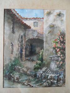 Watercolour Antique St Paul Vence Provence Drawing G.Maffre Alps Maritime,Vgc ,