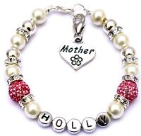 Personalised Mum Sister Niece Aunt Grandmother Charm Bracelet Free Gift Bag