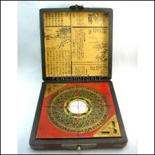 Vintage Feng Shui Luo Pan Chinese Compass W. Case 7""