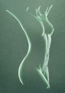 FEMALE NUDE 22 - PASTEL DRAWING ORIGINAL - GREEN - STUDIO ANGELA