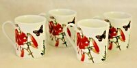 RW Essentials Floral Haven Multi-Color Porcelain Coffee Mugs Set of Four New