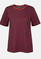 Women's wavy stripe t-shirt by Oliver Bonas - red and navy - UK size 8