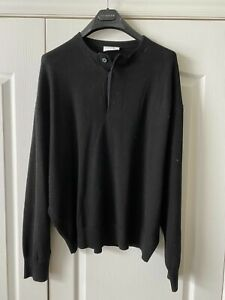 FEAR OF GOD x ERMENEGILDO ZEGNA BLACK WOOL OVERSIZED THERMAL HENLEY SIZE 50