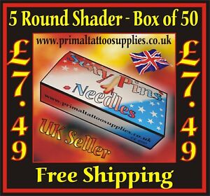 Sexy Pins Tattoo Needles 5 Round Shaders  Box of 50  - (Tattoo Supplies - Grips)