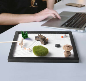 Tabletop Mini Zen Garden Kit Desktop Meditation Sand Box Hom Office Decor Craft
