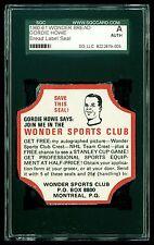 1960 -61 Wonder Bread Label End Gordie Howe NHL SGC Graded TOUGH! Red Wings