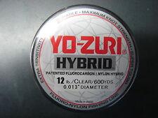 Yo-Zuri Hybrid Fluorocarbon 12 lb. 600yd Clear R657-CL Fishing Line 12lb. 600 yd
