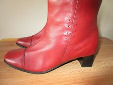 PAVERS LADIES RED LEATHER WINTER ANKLE BOOTS 6 UK 39 SIDE ZIP WORN ONCE