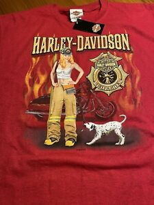 Brand New Firefighter Harley-Davidson T Shirt 2004 Savannah, Georgia