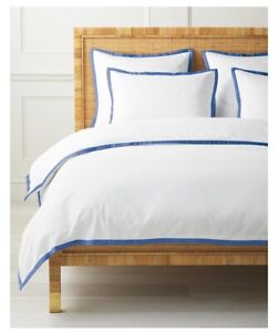 NWT $268 | Serena & Lily Border Frame Duvet Cover | Full/Queen | French Blue