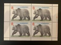 Canada Stamp Sheet - 1997 $8.00 GRIZZLY BEAR WILDLIFE Definitive Pane of 4