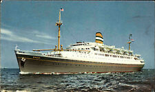 1963 S.S. RYNDAM Holland America Linie Nachgebühr Vermerke Stempel SchiffsfotoAK