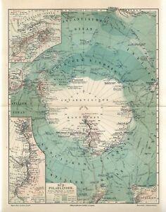 1899 ANTARCTICA SOUTH POLE VICTORIA LAND SOUTH SHETLAND ISLANDS Antique Map