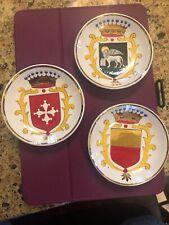 """Vintage Lot Of 3 SOCIETA CERAMICA ITALIANA Coat Arms Porcelain 3 3/4"""" Dish Italy"""