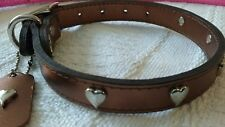 "Mirage Bronze SweetHeart Leather Dog Collar 18"" long medium 14-16""  neck size"