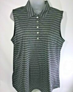 Puma Drycell Women's Polo Sleeveless Gray w/Black Stripe Size XL NWOT
