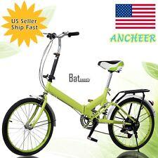 "20""Folding Bike Aluminum 6 Speed Bicycle Foldable Storage School Sport BTS Green"